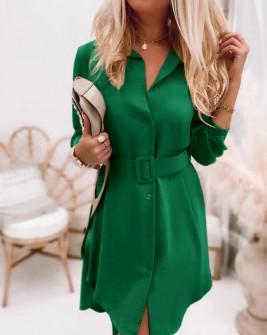 Γυναικείο φόρεμα με ζώνη 5961 πράσινο