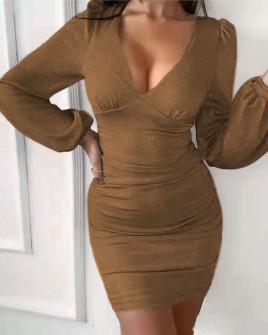 Γυναικείο φόρεμα λαμέ 3418 χρυσαφί