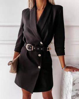 Γυναικείο κομψό φόρεμα με ζώνη 3846 μαύρο