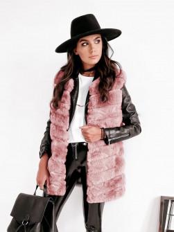 Γυναικείο γούνινο αμάνικο 2602 ροζ