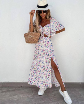 Γυναικείο μακρύ φόρεμα με σχέδια  5614403