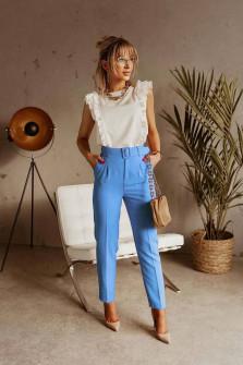 Γυναικείο παντελόνι με ζώνη 5557 γαλάζιο