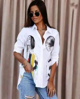 Γυναικείο πουκάμισο με στάμπα 548202