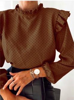 Γυναικεία μπλούζα πουά 5315 καφέ