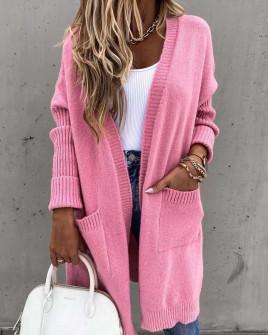Γυναικεία ζακέτα με τσέπες 2719 ροζ