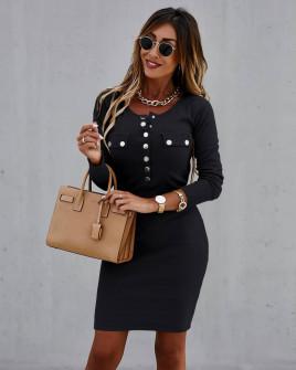 Γυναικείο εφαρμοστό φόρεμα με κουμπιά μαύρο