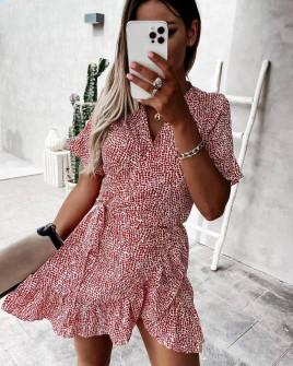 Γυναικείο φόρεμα κρουαζέ 21321 κόκκινο