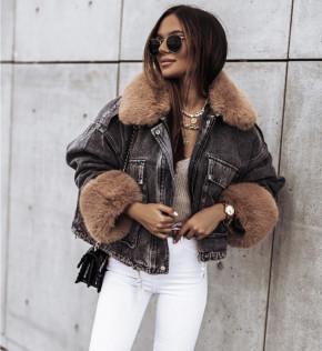 Γυναικείο τζιν μπουφάν με γούνα 4092 γραφίτη