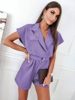 Γυναικεία κοντή ολόσωμη φόρμα με ζώνη 3779 μωβ
