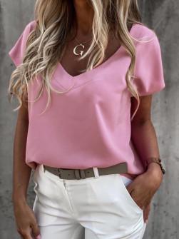 Γυναικείο κοντομάνικο με βαθύ ντεκολτέ 5068 ροζ