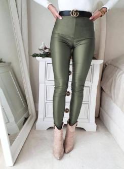 Γυναικείο δερμάτινο κολάν 99952 σκούρο πράσινο