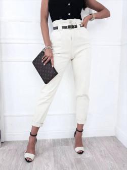 Γυναικείο παντελόνι με ζώνη 18158 άσπρο