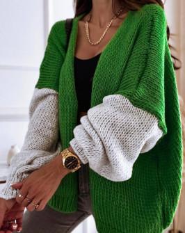 Γυναικεία δίχρωμη ζακέτα 00889 πράσινο