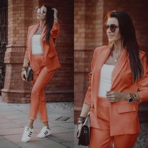Γυναικείο σετ σακάκι και παντελόνι 3970 πορτοκαλί