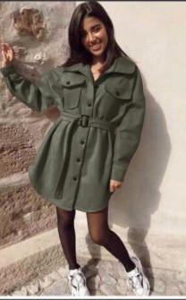 Γυναικείο παλτό βελουτέ 5322 σκούρο πράσινο