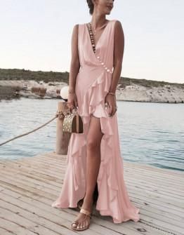 Γυναικείο μακρύ φόρεμα με σκίσιμο 8200 ροζ
