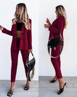 Γυναικείο σετ σακάκι με φόδρα και παντελόνι 5297 μπορντό
