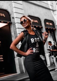 Γυναικείο μακρύ φόρεμα με σκίσιμο 3224 μαύρο
