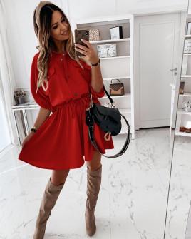 Γυναικείο φόρεμα με λάστιχο στη μέση 5324 κόκκινο