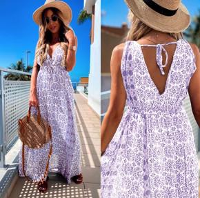 Γυναικείο μακρύ φόρεμα 2391 μωβ