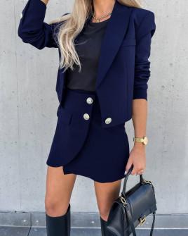 Γυναικείο σετ σακάκι-φούστα 6071 σκούρο μπλε