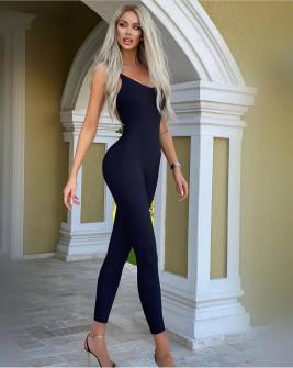 Γυναικεία εφαρμοστή ολόσωμη φόρμα 24031 μαύρη
