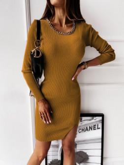 Φόρεμα με εντυπωσιακό κολιέ 2654 μουσταρδί