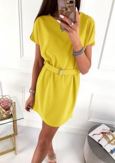 Γυναικείο φόρεμα με ζώνη 5055 κίτρινο