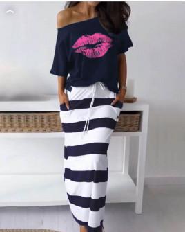 Γυναικείο σετ φούστα και μπλούζα 2199 σκούρο μπλε