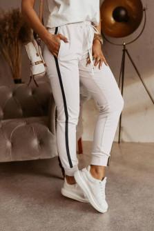 Γυναικείο παντελόνι με ρίγα 5532 άσπρο