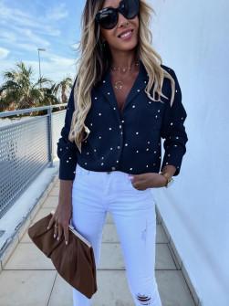 Γυναικείο πουκάμισο πουά 5242 σκούρο μπλε