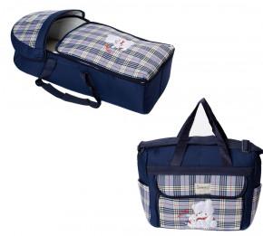 Σετ πορτ μπεμπέ και τσάντα 00454 σκούρο μπλε/μπλε