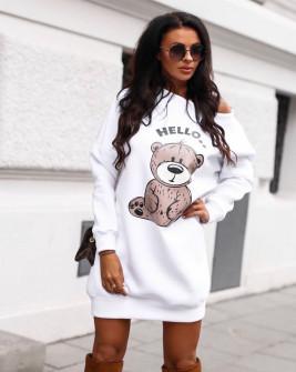 Γυναικείο μπλουζοφόρεμα με στάμπα αρκουδάκι 3463 άσπρο