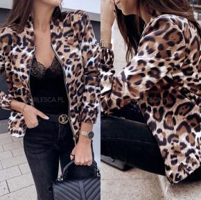 Γυναικείο μπουφάν με animal print λεοπάρ 3744 καφέ