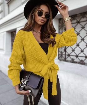 Γυναικεία ζακέτα με δέσιμο 00691 κίτρινο