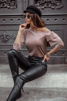 Γυναικεία μπλούζα βελουτέ 3294 πούδρα