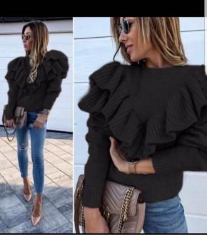 Γυναικείο πουλόβερ με βολάν 1858 μαύρο