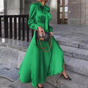 Γυναικείο φόρεμα σατέν με φιόγκο στο λαιμό 2525 πράσινο