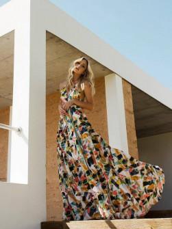 Γυναικείο μακρύ φόρεμα με εντυπωσιακό print 21548