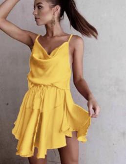 Γυναικείο φόρεμα σατέν 2455 κίτρινο