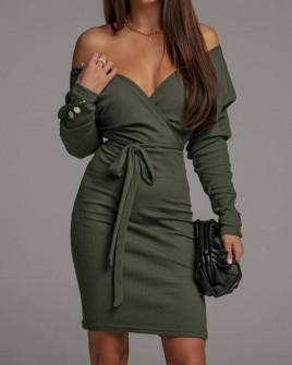 Γυναικείο φόρεμα κρουαζέ 5977 σκούρο πράσινο