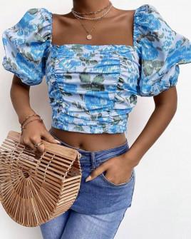 Γυναικεία μπλούζα με φουσκωτά μανίκια 3360 γαλάζια