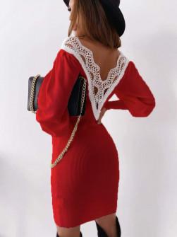 Γυναικείο φόρεμα με εντυπωσιακή πλάτη 3256 κόκκινο
