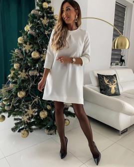Γυναικείο χαλαρό φόρεμα 3052 άσπρο