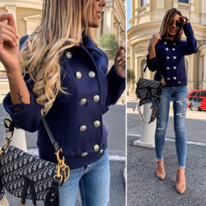 Γυναικείο σακάκι με εντυπωσιακά κουμπιά 3788 σκούρο μπλε