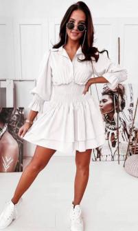 Γυναικείο φόρεμα με λάστιχο στη μέση 55671 άσπρο