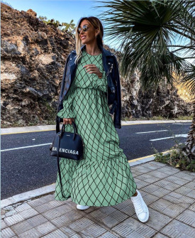 Γυναικείο μακρύ φόρεμα 5079 μέντα