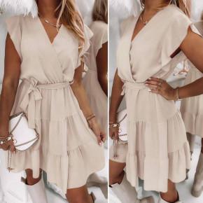 Γυναικείο φόρεμα κρουαζέ 5708 μπεζ
