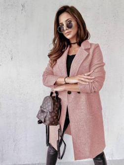 Γυναικείο μπουκλέ παλτό 20055 ροζ