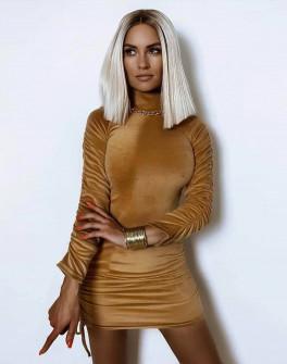 Γυναικείο βελουτέ φόρεμα με σούρα στο μανίκι 5995 καμηλό